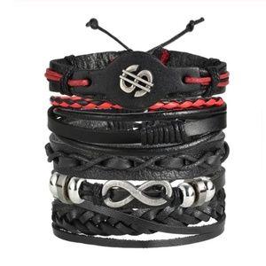 5pcs/set Ethnic Multilayer Leather Bracelets